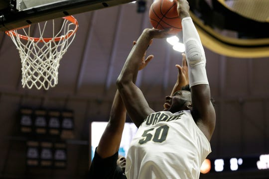 Purdue forward Trevion Williams (50) goes up to the net during the second half of a NCAA Men's basketball game, Saturday, Nov. 16, 2019 at Mackey Arena in West Lafayette. Purdue won, 93-49.