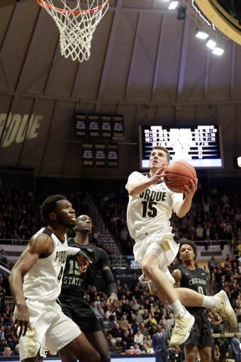 Purdue guard Tommy Luce (15) goes up for a layup during the second half of a NCAA Men's basketball game, Saturday, Nov. 16, 2019 at Mackey Arena in West Lafayette. Purdue won, 93-49.