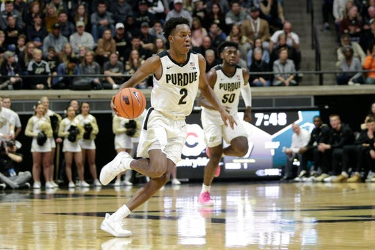 Purdue guard Eric Hunter Jr. (2) dribbles the ball during the first half of a NCAA Men's basketball game, Saturday, Nov. 16, 2019 at Mackey Arena in West Lafayette.