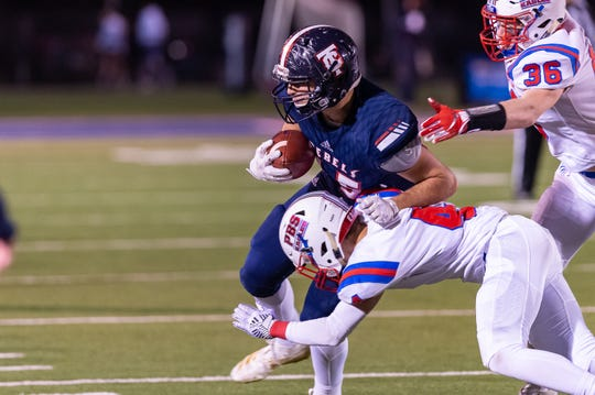 Noah Fontenot makes a catch as Teurlings Catholic takes on Parkview Baptist in the first round of playoffs. Friday, Nov. 15, 2019.