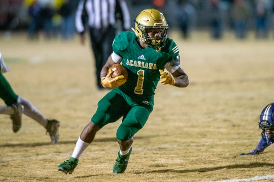 Acadiana High's Dillan Monette moves the ball on the field as the Acadiana High Wreckin' Rams take on the Benton High Tigers on Friday, Nov. 15, 2019.