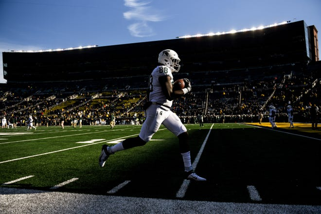 Michigan State's Trenton Gillison catches a pass during warmups before the game on Saturday, Nov. 16, 2019, at Michigan Stadium in Ann Arbor.