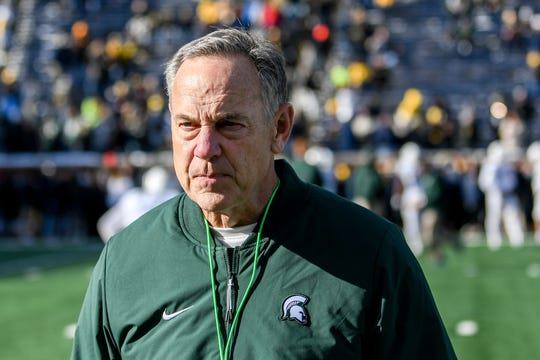 Michigan State's head coach Mark Dantonio looks on before the game on Saturday, Nov. 16, 2019, at Michigan Stadium in Ann Arbor. Dantonio will sit for a deposition Friday, Jan. 10 as part of an ongoing wrongful termination suit filed by a former staffer.