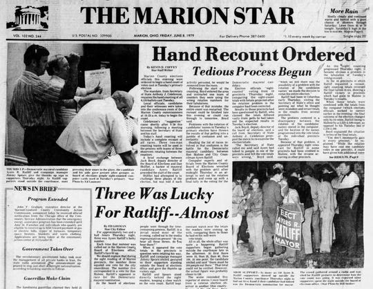 The Marion Star documents a recount ordered for Ayers R. Ratliff in his contest for mayor in 1979.