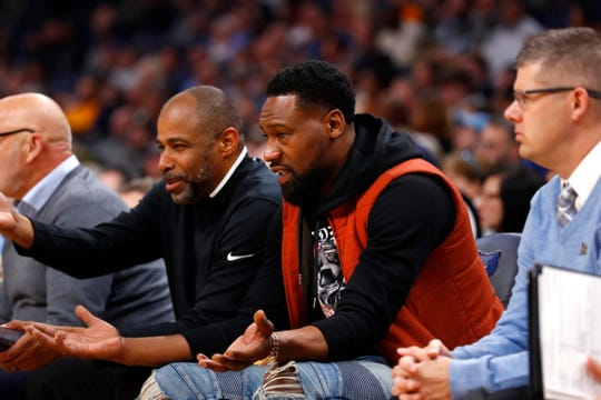 Former Memphis Grizzlies player Tony Allen watches the team play against the Utah Jazz during their game at the FedExForum on Friday, Nov. 15, 2019.