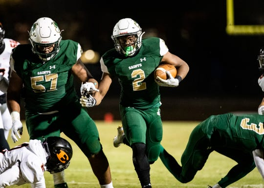 Briarcrest running back Jabari Small (2) carries the ball downfield during a home game against Ensworth in Eads, Tenn., Friday Nov.15, 2019.