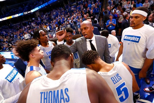 Memphis Tigers Head Coach penny Hardaway huddles up with his team before their game against Alcorn State at the FedExForum on Saturday, Nov. 16, 2019.