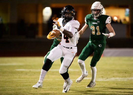 Ensworth running back Keshawn Lawrence (4) carries the ball during an away game against  Briarcrest in Eads, Tenn., Friday Nov.15, 2019.