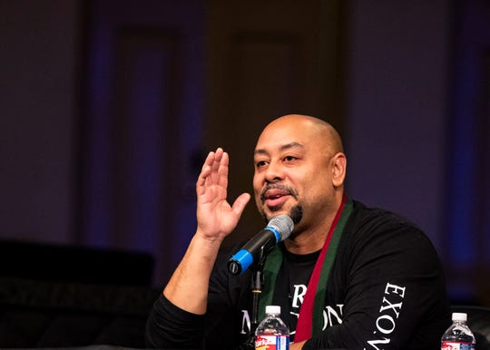One of the exonerees from the Central Park 5 case, Raymond Santana, speaks at a panel discussion on the series 'When They See Us'. Santana discussed possible solutions for inequities within the criminal justice system at Mississippi Boulevard Christian Church in Memphis, Tenn., Saturday, November 16, 2019.