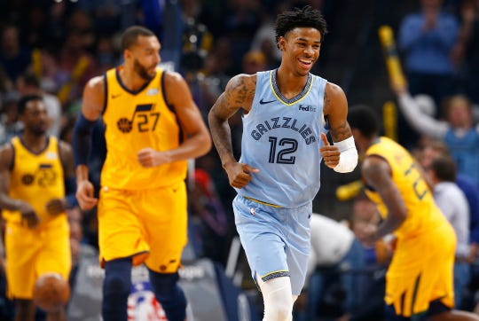 Memphis Grizzlies guard Ja Morant smiles as his team takes down the Utah Jazz 107-106 at the FedExForum on Friday, Nov. 15, 2019.
