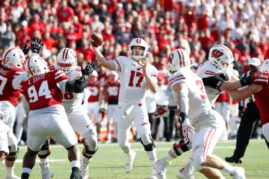 Badgers quarterback Jack Coan gets ready to unload a pass against Nebraska Cornhuskers in the second half.