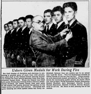 This story, which ran in the Nov. 22, 1930, Milwaukee Journal, shows Milwaukee Fire Commissioner Joseph Stein pinning a medal on Harvey Krause for his bravery as head usher when smoke filled a crowded movie theater.