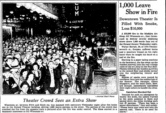 A portion of the Milwaukee Journal front page on Nov. 20, 1930, depicts the aftermath of a fire that broke out next door to the Strand Theater in Milwaukee. About 1,000 people evacuated the theater thanks to head usher Harvey Krause's efforts.