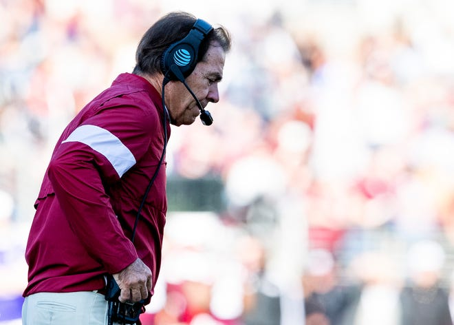 Alabama head coach Nick Saban walks to the sidelines after quarterback Tua Tagovailoa was injured against Mississippi State at Davis Wade Stadium on the MSU campus in Starkville, Ms., on Saturday November 16, 2019.