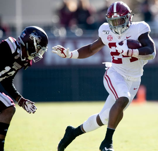 Alabama running back Brian Robinson, Jr., (24) against Mississippi State at Davis Wade Stadium on the MSU campus in Starkville, Ms., on Saturday November 16, 2019.