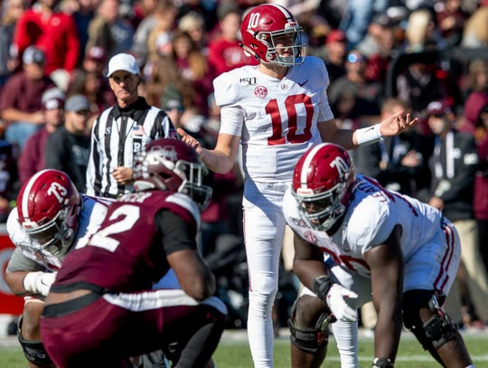 Alabama quarterback Mac Jones (10) against Mississippi State at Davis Wade Stadium on the MSU campus in Starkville, Ms., on Saturday November 16, 2019.