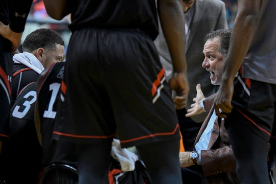 Cal State Northridge coach Mark Gottfried talks to the team during a timeout in the first half against Auburn in an NCAA college basketball game Friday, Nov. 15, 2019, in Auburn, Ala. (AP Photo/Julie Bennett)