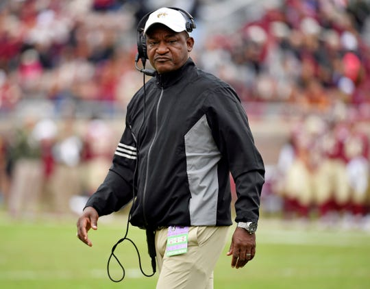 Nov 16, 2019; Tallahassee, FL, USA; Alabama State Hornets head coach Donald Hill-Eley looks on during a game against the Florida State Seminoles at Doak Campbell Stadium. Mandatory Credit: Melina Myers-USA TODAY Sports