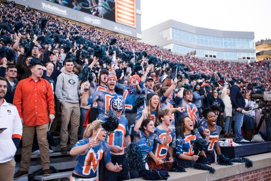 Auburn fans get pumped up before a game against Georgia at Jordan-Hare Stadium in Auburn, Ala., on Saturday, Nov. 16, 2019