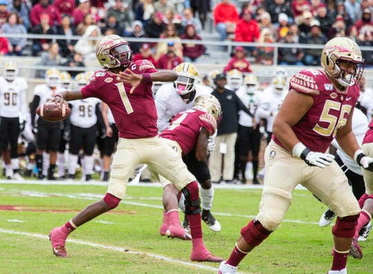 Florida State quarterback James Blackman winds up to throw a 69-yard touchdown pass on the first play from scrimmage in the first half of an NCAA college football game against Alabama State in Tallahassee, Fla., Saturday, Nov. 16, 2019. (AP Photo/Mark Wallheiser)
