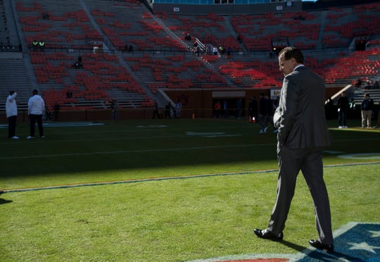 Auburn head coach Gus Malzahn walks the field before taking on Georgia at Jordan-Hare Stadium in Auburn, Ala., on Saturday, Nov. 16, 2019.