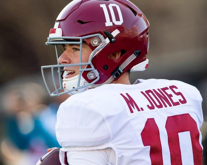 Alabama quarterback Mac Jones (10) warms up before the Alabama vs. Mississippi State game at Davis Wade Stadium on the MSU campus in Starkville, Ms., on Saturday November 16, 2019.