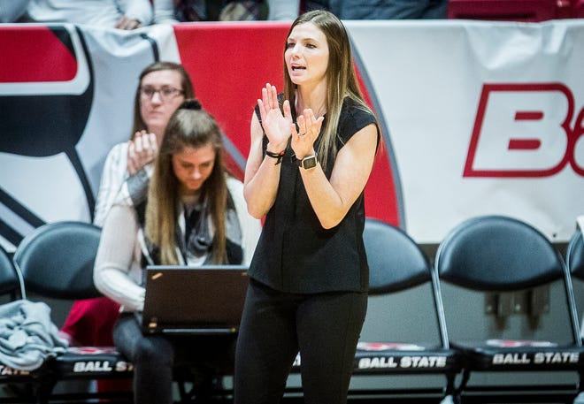 Ball State women's volleyball coach Kelli Miller Phillips looks on during the Cardinals' match against Eastern Michigan at Worthen Arena Friday, Nov. 15, 2019.