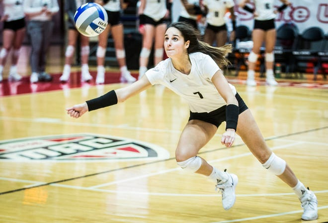 FILE -- Freshman outside hitter Natalie Risi goes after a ball during Ball State's match against Eastern Michigan at Worthen Arena on Nov. 15, 2019.