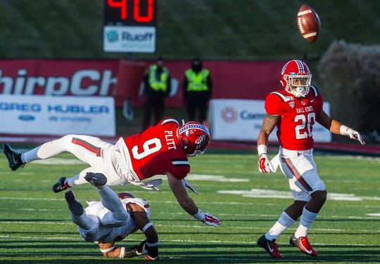 FILE -- Ball State players compete during their matchup with Central Michigan at Scheumann Stadium on Nov. 16, 2019.