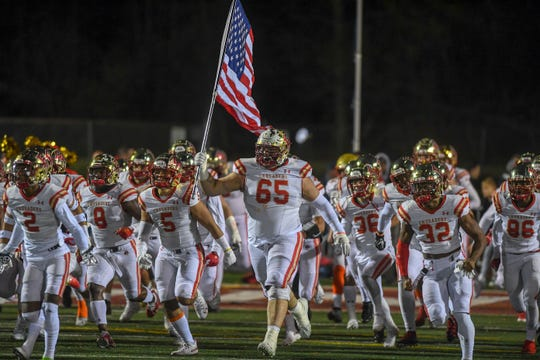 Bergen Catholic at Don Bosco Prep in the Non-Public 4 football quarterfinal playoff on Friday, November 15, 2019. BC takes the field.