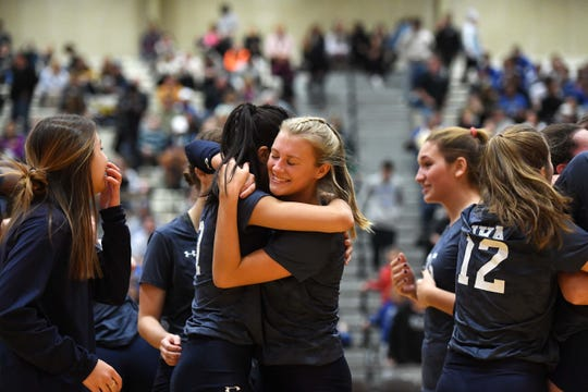 IHA vs. Union Catholic in the NJSIAA girls volleyball finals at William Paterson University on Saturday, November 16, 2019. IHA celebrates defeating Union Catholic.