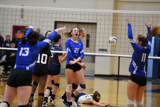 Union Catholic's Alexandra Kwasnik (25) celebrates winning a point against Immaculate Heart during the NJSIAA volleyball finals on Saturday, Nov. 16, 2019 at William Paterson University.