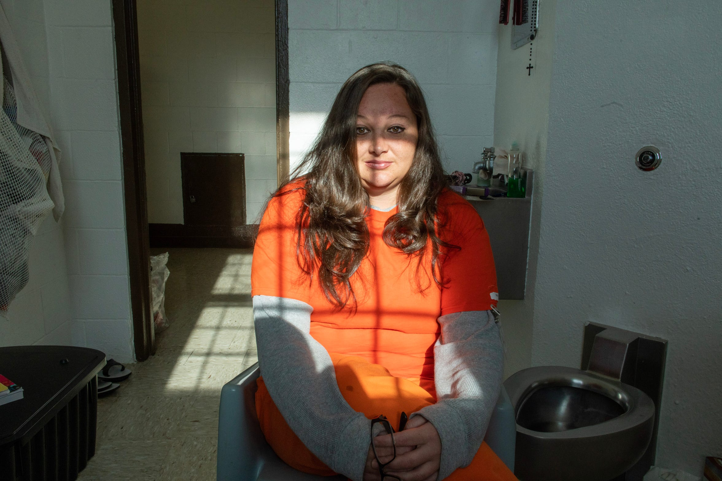 Stephanie Baker in her cell in the Springer Correctional Center in Springer. Stephanie spent nearly three years at the facility before her release in October.