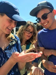 New Mexico State University students Kelcie Gerry, left, Ismael Torres, right, and University of Hawaii graduate student Annick Cros look at a sea urchin at the Anuenue Sea Urchin Hatchery in Honolulu during the Sundt Honors College trip to Hawaii in 2016 to study the effects of climate change on coral reefs. Next spring, Sundt Seminar students will study food and culture in the Southwest.