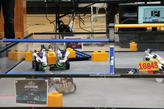 Robots compete in the FIRST Tech Challenge at Chaparral Middle School Saturday, Nov. 16.