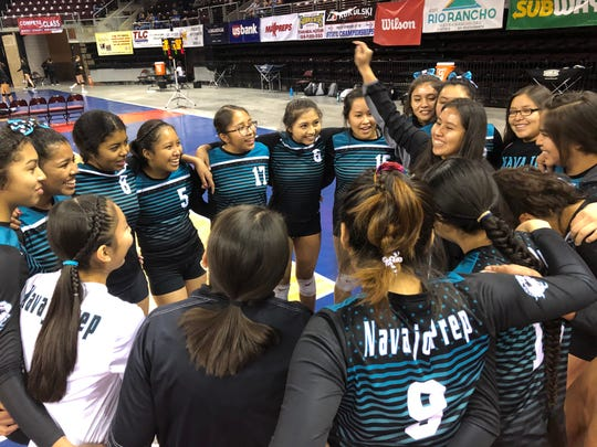 The Navajo Prep Lady Eagles beat top-seeded Tularosa on Saturday to reach the 3A state volleyball tournament's final four in Rio Rancho.