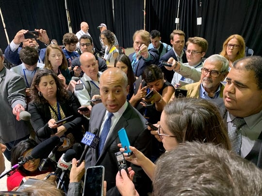 Massachusetts Gov. Deval Patrick speaks to reporters after addressing the California Democratic Party Convention two days after announcing his candidacy for president in Long Beach, Calif. on Nov. 16, 2019.
