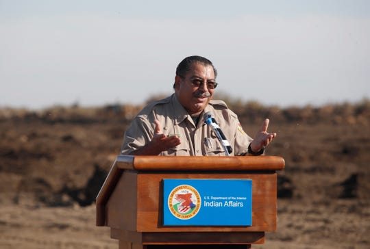 Ray Ruiz Sr., Bureau of Indian Affairs Chief of Fire Operations Specialists answers questions from the media during a press conference regarding the Martinez Fire in Thermal on November 15, 2019.
