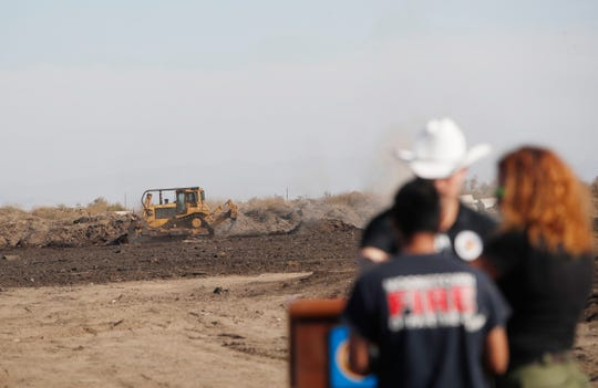 Heavy equipment rig a lot o land in the area where the Martinez Fire burned during a press conference regarding the Martinez Fire in Thermal on November 15, 2019.