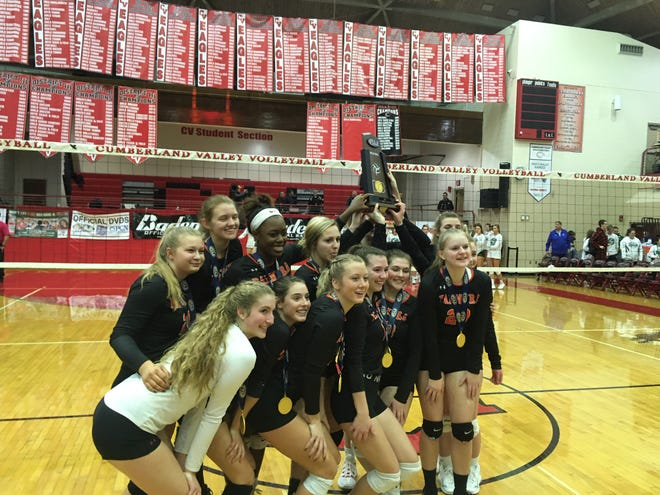 The Palmyra girls volleyball team celebrated its first state championship on Saturday with a thrilling five-set win over Southern Lehigh.