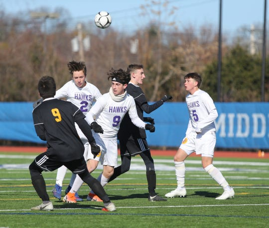 Rhinebeck plays Voorheesville in the NYSPHSAA boys Class C soccer semi-finals at Middletown High School on Saturday, November 16, 2019.