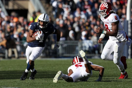 Nov 16, 2019; University Park, PA, USA; Penn State Nittany Lions running back Journey Brown (4) runs with the ball during the second quarter against the Indiana Hoosiers at Beaver Stadium. Mandatory Credit: Matthew O'Haren-USA TODAY Sports