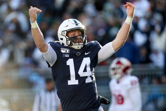 Nov 16, 2019; University Park, PA, USA; Penn State Nittany Lions quarterback Sean Clifford (14) reacts after scoring a touchdown during the fourth quarter against the Indiana Hoosiers at Beaver Stadium. Penn State defeated Indiana 34-27. Mandatory Credit: Matthew O'Haren-USA TODAY Sports