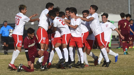 Western (Las Vegas) celebrates after defeating Sparks 2-1 during their NIAA 3A Boys Soccer Championship game at Wooster High in Reno on Nov. 16, 2019.