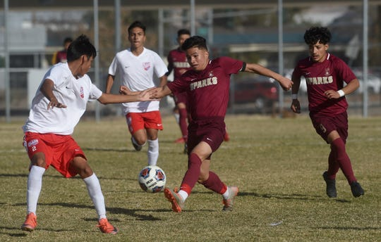 Sparks' Yail Roman (2) tries to control the ball while taking on Western (Las Vegas) during their NIAA 3A Boys Soccer Championship game at Wooster High in Reno on Nov. 16, 2019.