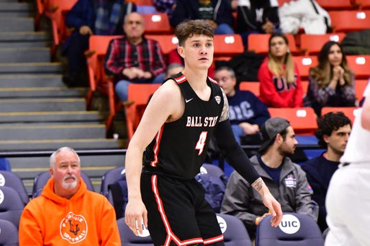Lucas Kroft (4), a Richmond High School graduate, has appeared in each of Ball State University's three games this season as a freshman.
