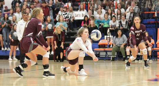 Bronte High School's Searra Powell digs a ball against Water Valley during the Region I-1A volleyball championship match Saturday, Nov. 16. 2019, at San Angelo Central's Babe Didrikson Gym.