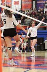 Water Valley High School's Kalysta Minton-Holland celebrates a big kill during the Region I-1A volleyball championship match Saturday, Nov. 16. 2019, at San Angelo Central's Babe Didrikson Gym.