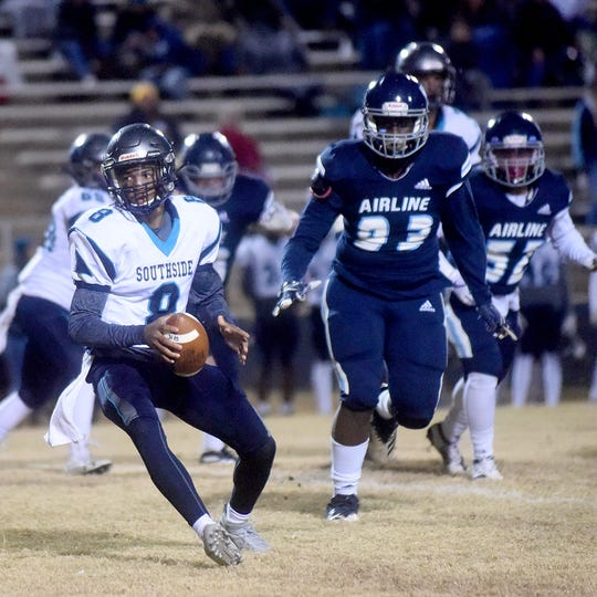 Airline's Triveon Wilkins (93) chases a Southside runner in one of the 2019 LHSAA 5A playoff games