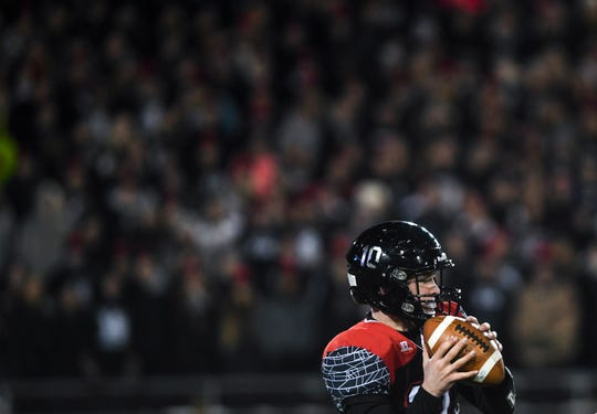 Brandon Valley's Thomas Scholten (10) prepares to make a pass in the Class 11AAA state championship against O'Gorman on Friday, Nov. 15, 2019, at Dana J. Dykhouse Stadium in Brookings, S.D.